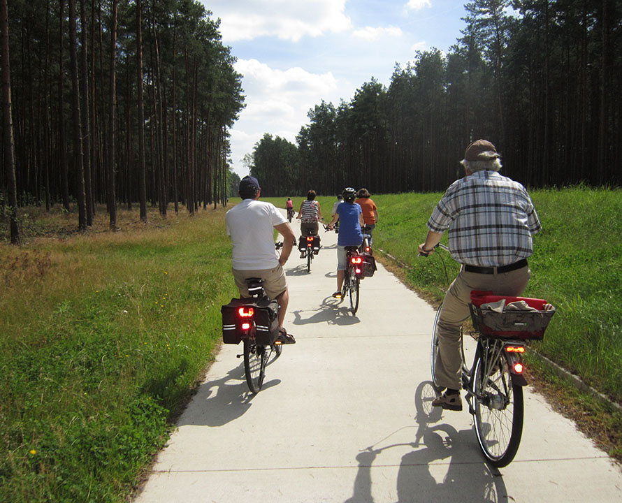 Gruppe Fahrradfahrer auf dem Deichverteidigungsweg Gartow