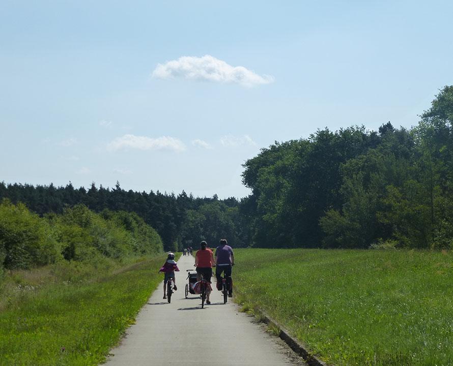 Familie auf dem Fahrrad auf dem Weg am Deich