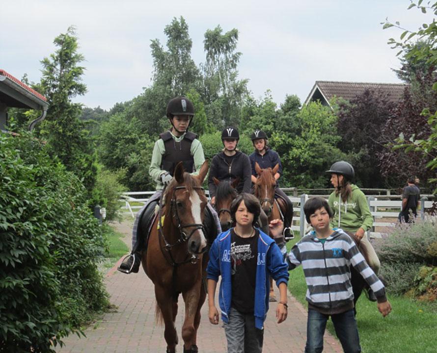 Kindergruppe mit Pferden auf dem Weg vom Paddock zum Hof